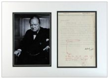 Winston Churchill Autograph Signed Note Display